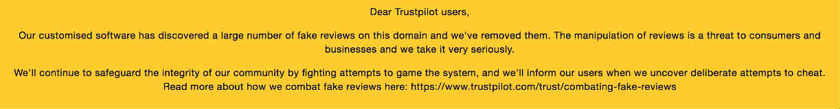 Notice from TrustPilot about PopJulia forum